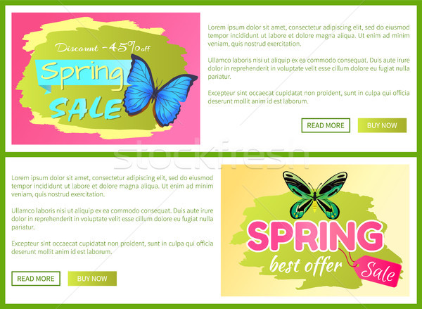 Spring Best Offer Sale Stickers Online Voucher Set Stock photo © robuart