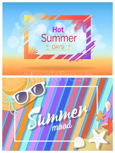 Hot Summer Days Summertime Mood Bright Cards Set Stock photo © robuart