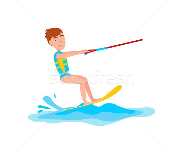 Kitesurfing and Happy Boy Vector Illustration Stock photo © robuart