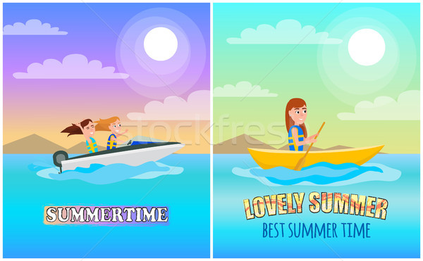 Summertime Boating Collection Vector Illustration Stock photo © robuart