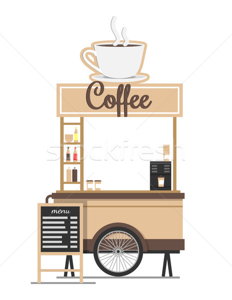 Coffee Stand with Board Menu Vector Ilustration Stock photo © robuart