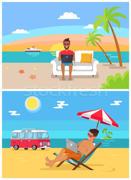 Distant Work Sea Collection Vector Illustration Stock photo © robuart