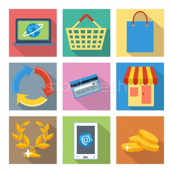 広場 アイコン インターネットショッピング 銀行 セット を ストックフォト © robuart