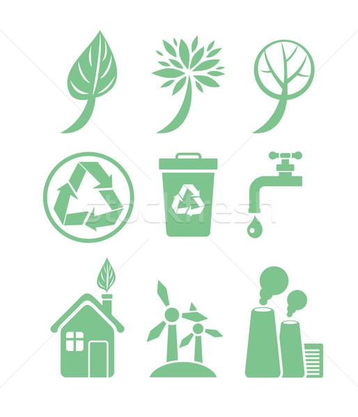 Groene energie ecologie groene kleur witte Stockfoto © robuart