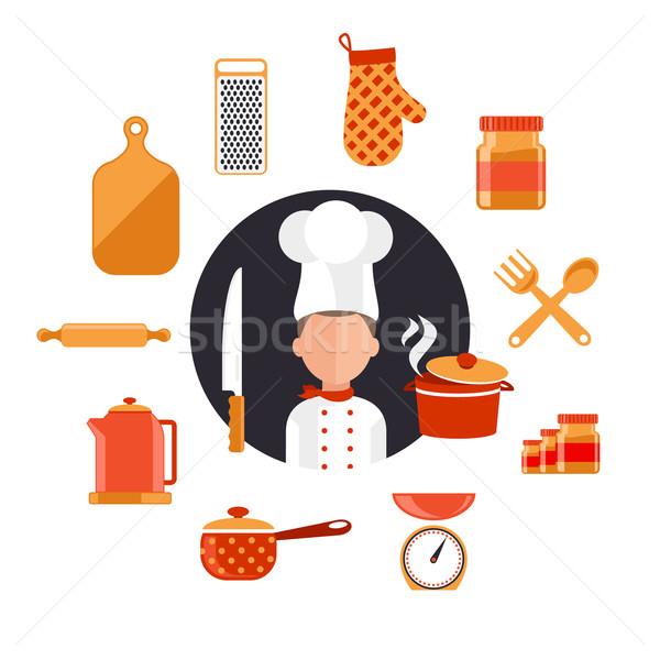 Koken maaltijden voedselbereiding ontwerp iconen keuken Stockfoto © robuart