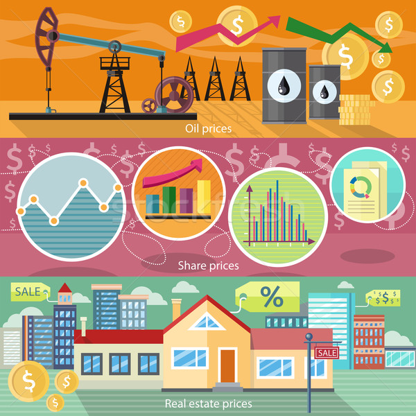 Concept of Real Estate Price Oil and Shares Stock photo © robuart
