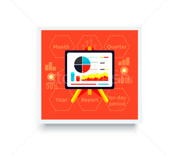 Stockfoto: Stand · charts · Rood · business · analytics · poster