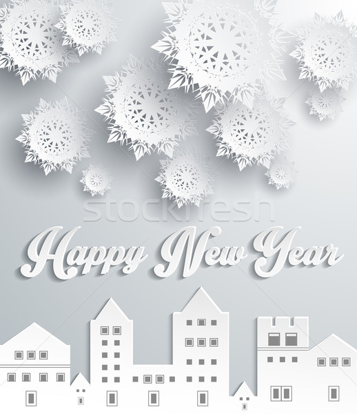 Happy New Year Snow City Design Stock photo © robuart