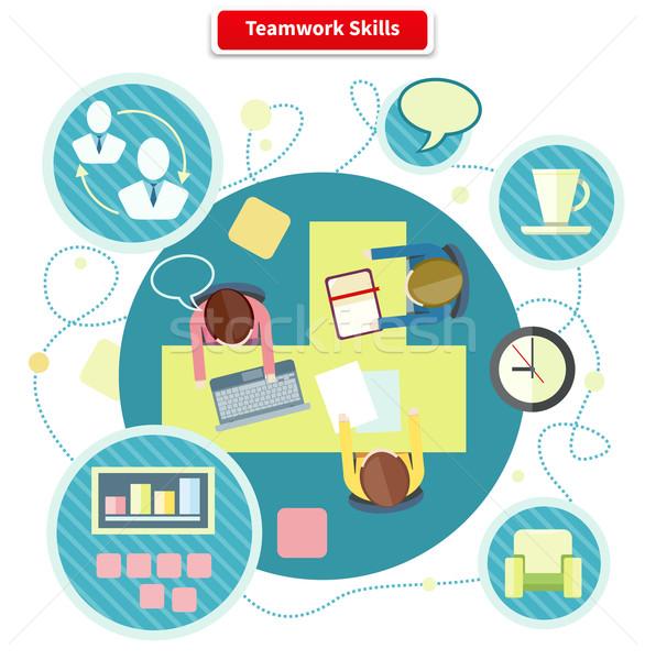 Teamwerk vaardigheden ontwerp ontwikkeling kennis opleiding Stockfoto © robuart