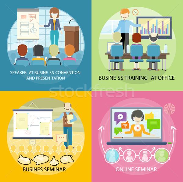Zestaw banner seminarium szkolenia działalności online Zdjęcia stock © robuart