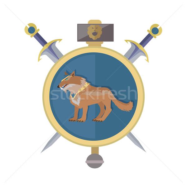 Farkas ikon arany izolált avatar kardok Stock fotó © robuart