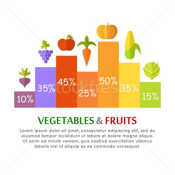 Groenten vruchten infographics vector stijl ontwerp Stockfoto © robuart
