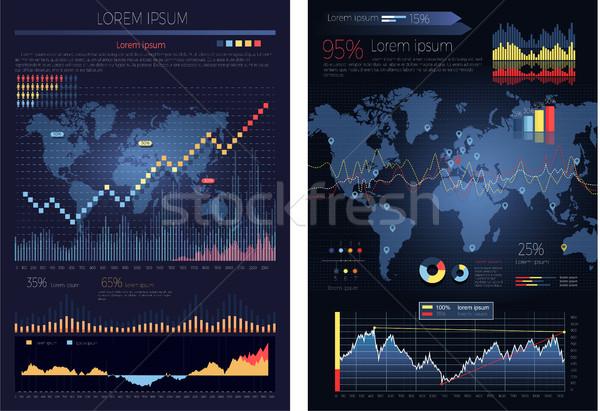 Grafikus diagram térkép világ infografika globális Stock fotó © robuart