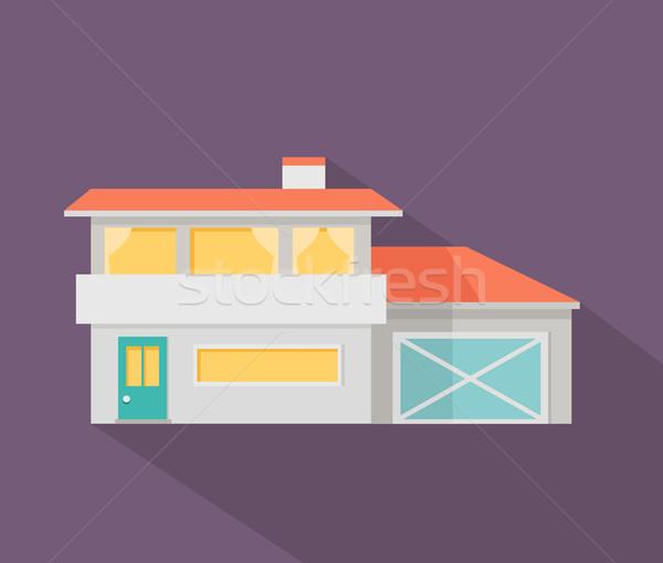Feliz casa terraço bandeira cartaz modelo Foto stock © robuart