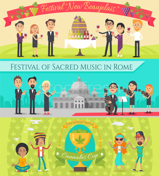 Italy France National Festivals Flat Style Design Stock photo © robuart