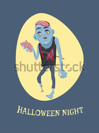 Scary Zombie Man with Brains Vector Illustration Stock photo © robuart