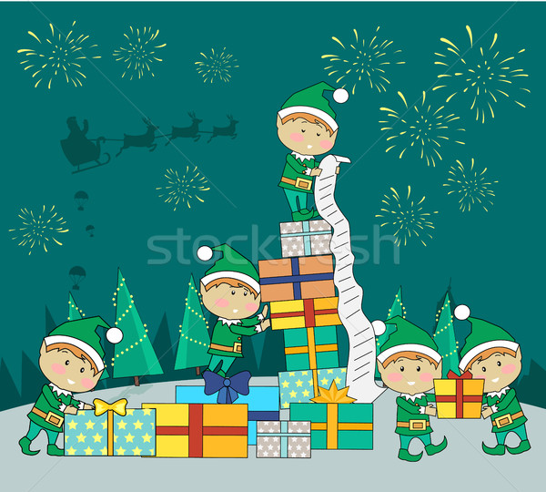 Christmas Elves Packing Presents Gift Boxes Stock photo © robuart