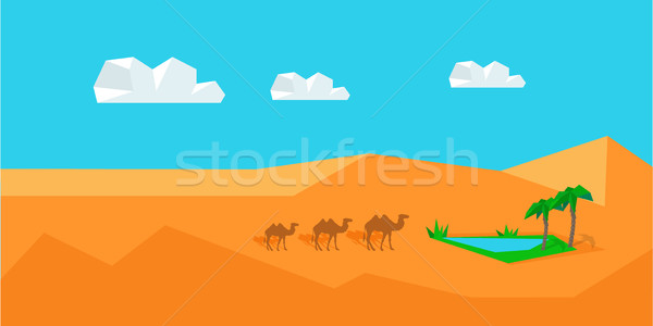 Transportation Goods by Camel. Worldwide Warehouse Stock photo © robuart