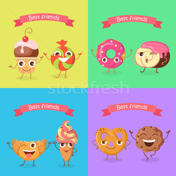 Smiling Characters. Set of Funny Sweets Flat Design. Stock photo © robuart