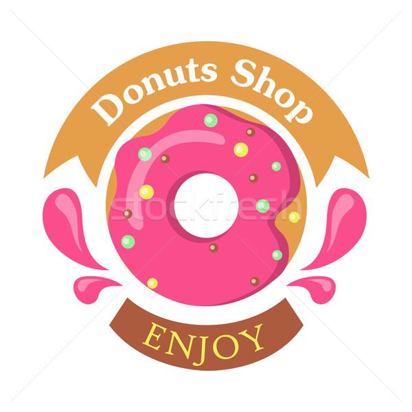 Donut Shop Logo Icon Enjoy. Tasty Glazing. Vector Stock photo © robuart