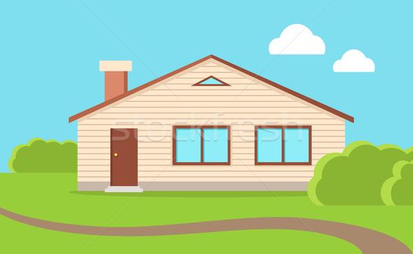 Grand famille maison beige brun toit Photo stock © robuart