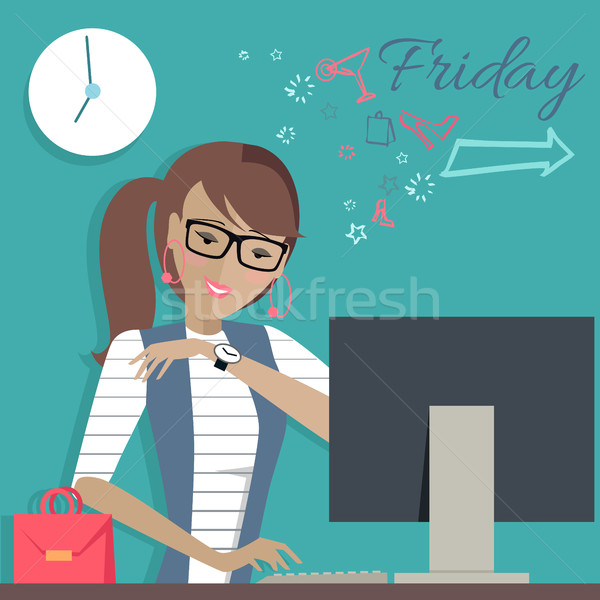 Friday Working Day. Woman Dreaming About Weekends. Stock photo © robuart