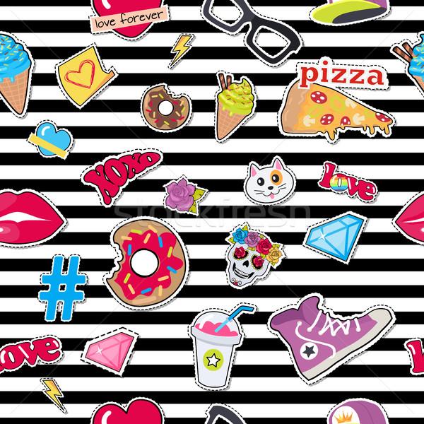 Cap, Sport Footwear, Pizza, Doughnut, Cat, Skull Stock photo © robuart