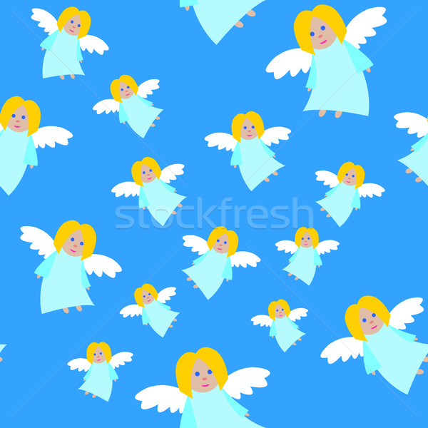 New Year Angels in Blue Dresses Seamless Pattern Stock photo © robuart