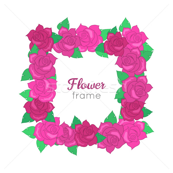 Flower frame. Squar Wreath of Different Blossoms Stock photo © robuart