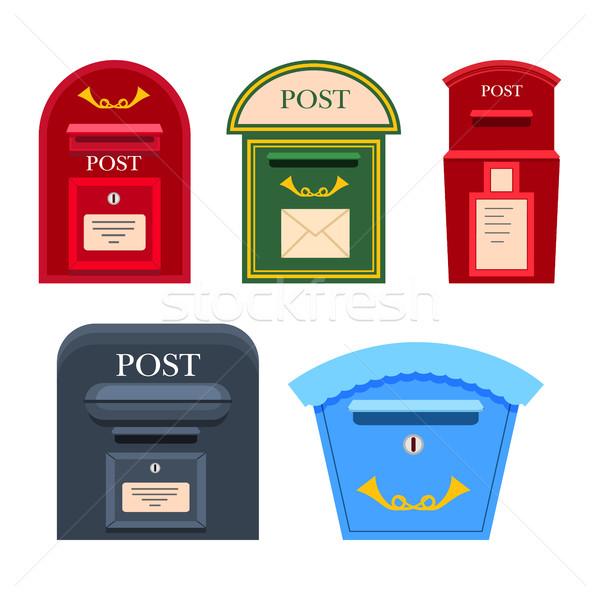 ポスト メールボックス ベクトル カラフル コレクション 白 ストックフォト © robuart