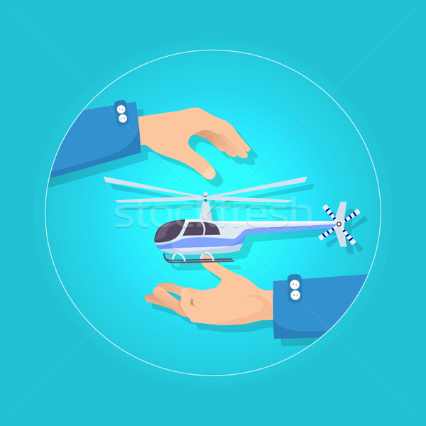Fast Blue and Gray Helicopter on Blue Background Stock photo © robuart