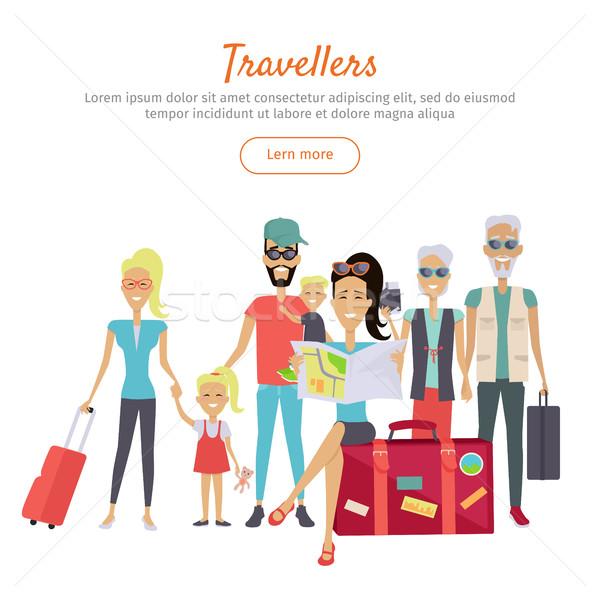 Foto stock: Diferente · edad · maletas · banner · establecer · carácter