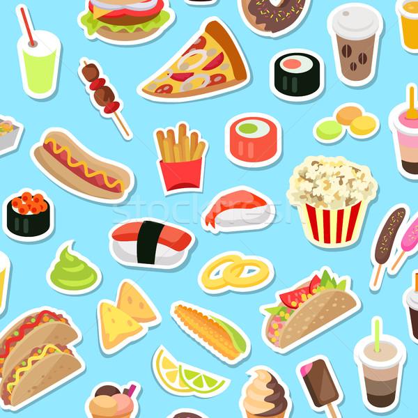 Szybko dżonka żywności niebieski wektora plakat Zdjęcia stock © robuart