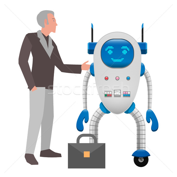 Human and Robot Cooperation Isolated Illustration Stock photo © robuart