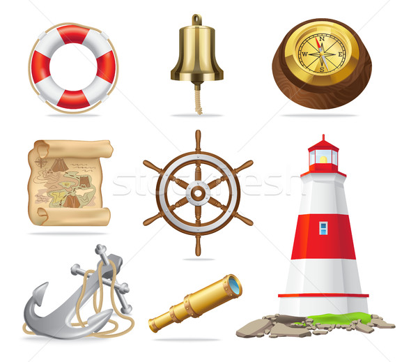 Marine Attributes Set of Isolated Illustrations Stock photo © robuart