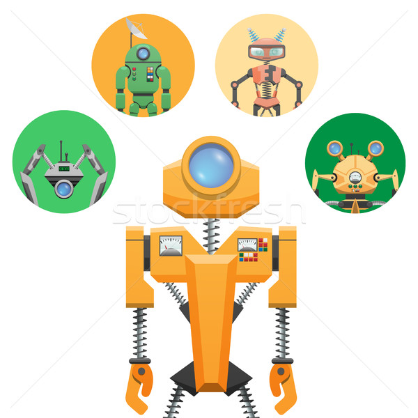 Yellow Robot with Retractable Round Eye Four Icons Stock photo © robuart