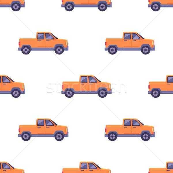 Transport Isolated Classic Pickup Seamless Pattern Stock photo © robuart