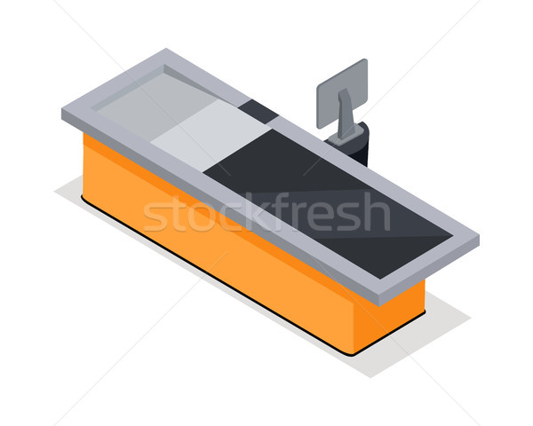 Stock photo: Supermarket Cash Register Isometric Vector Icon