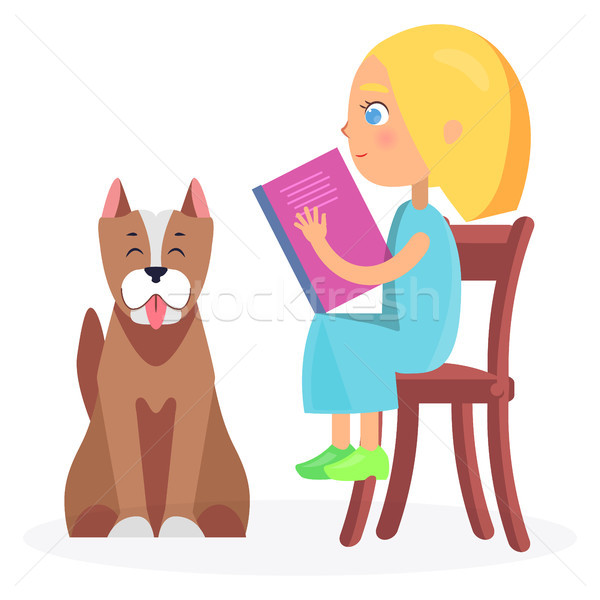 Girl Sitting on Wooden Chair with Book and Pet Stock photo © robuart