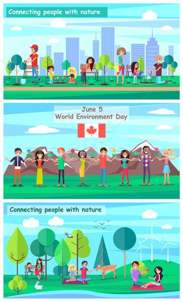 Világ környezet nap promóciós plakátok kapcsolódik Stock fotó © robuart