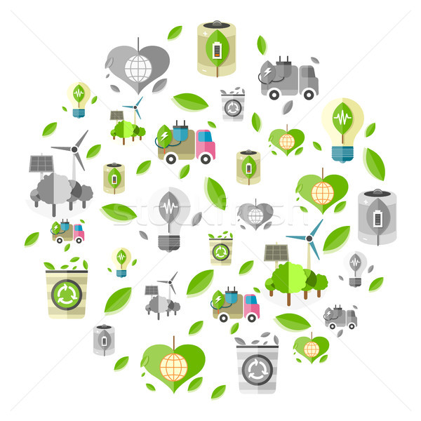 Clean Energy Symbols Formed in Circle Illustration Stock photo © robuart