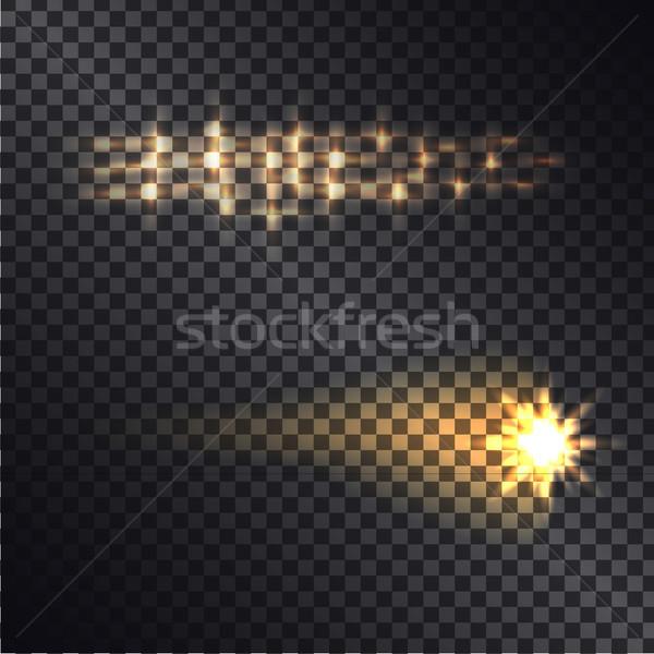 Gerçekçi ışık efektleri şeffaf düşen ateşli kuyrukluyıldız Stok fotoğraf © robuart