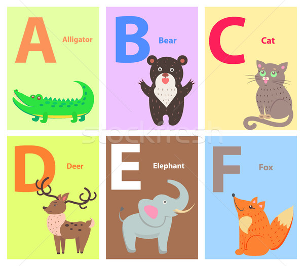 Alphabet with Cute Cartoon Animal Flat Vector Set Stock photo © robuart