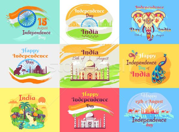 Indiai nap ünneplés szett Taj Mahal elefánt Stock fotó © robuart