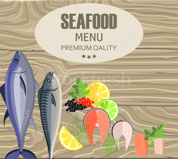 Frutti di mare ristorante menu pesce tagliere limone Foto d'archivio © robuart