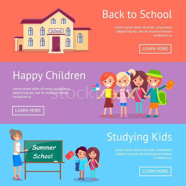 Okul eğitim ayarlamak posterler üç Stok fotoğraf © robuart