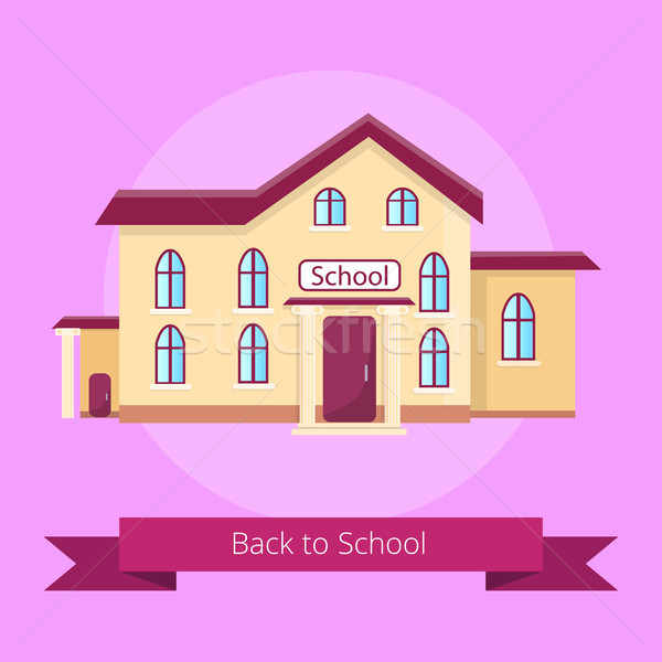 Okula geri yalıtılmış örnek mor karikatür Stok fotoğraf © robuart