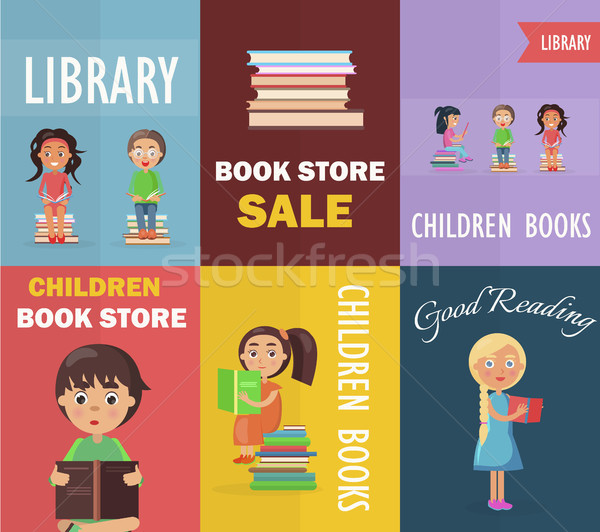 Bookstore Sale and Children Library with Readers Stock photo © robuart