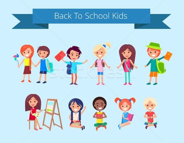 Back to School Kids Isolated illustration Stock photo © robuart