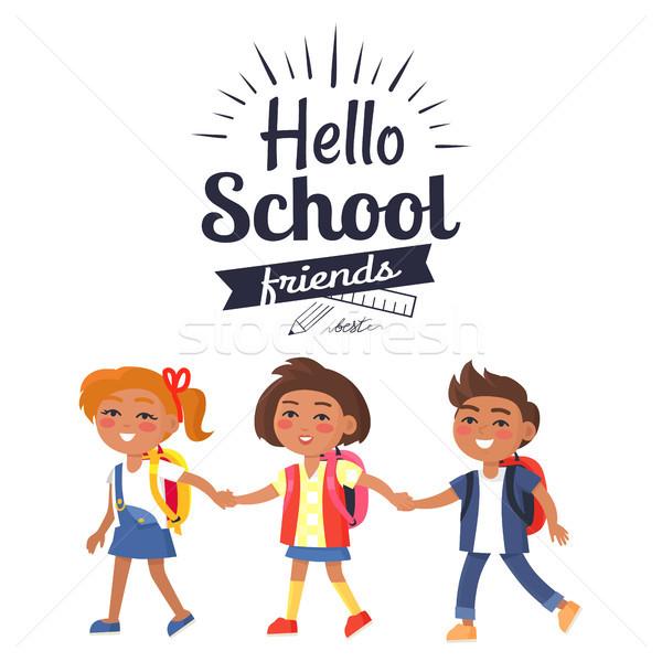 Ciao scuola amici adesivo isolato bianco Foto d'archivio © robuart